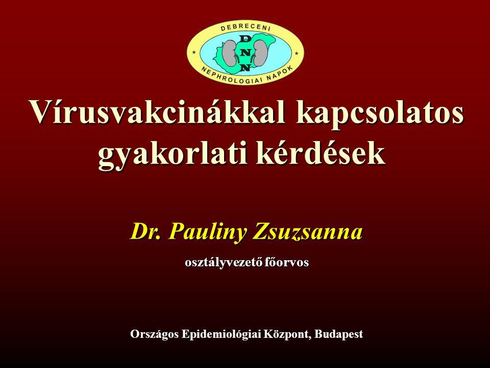 Vírusvakcinákkal kapcsolatos gyakorlati kérdések Dr. Pauliny Zsuzsanna osztályvezető főorvos Országos Epidemiológiai Központ, Budapest