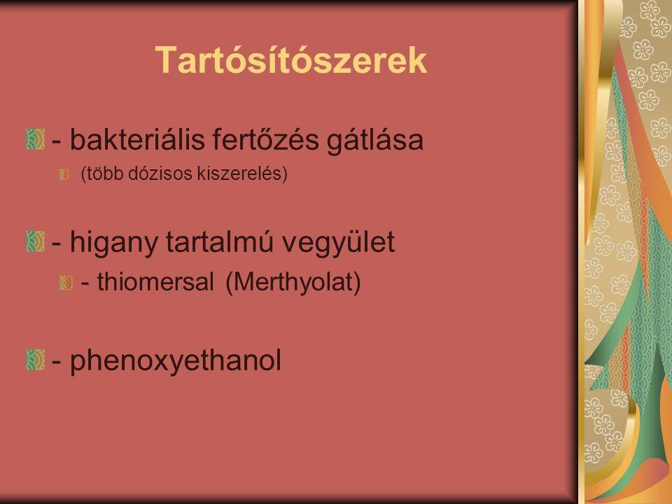 Tartósítószerek - bakteriális fertőzés gátlása (több dózisos kiszerelés) - higany tartalmú vegyület - thiomersal (Merthyolat) - phenoxyethanol