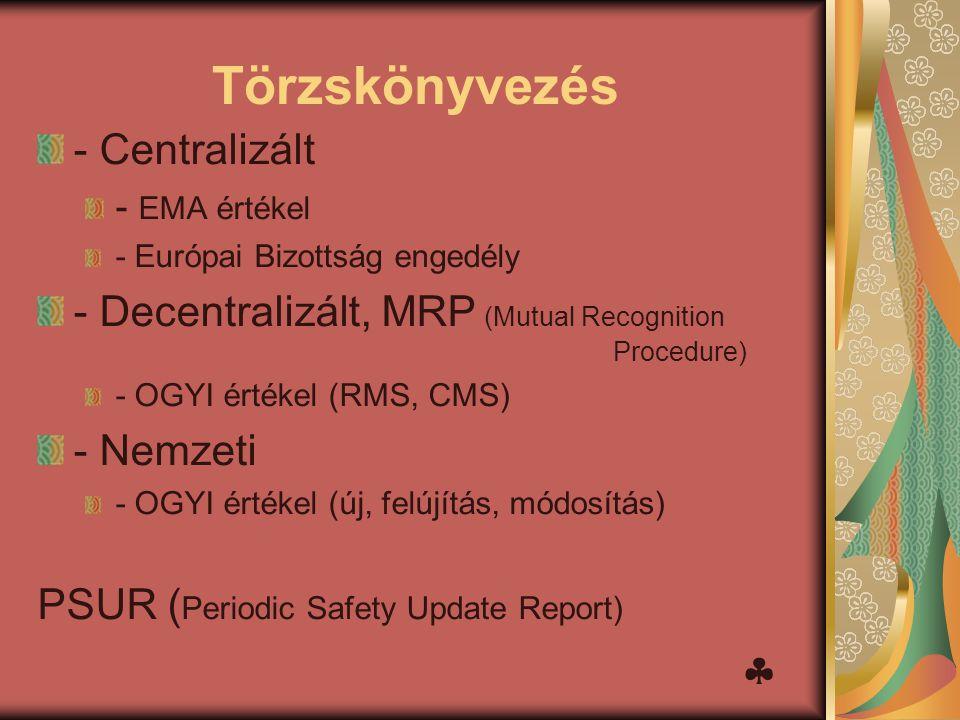 Törzskönyvezés - Centralizált - EMA értékel - Európai Bizottság engedély - Decentralizált, MRP (Mutual Recognition Procedure) - OGYI értékel (RMS, CMS
