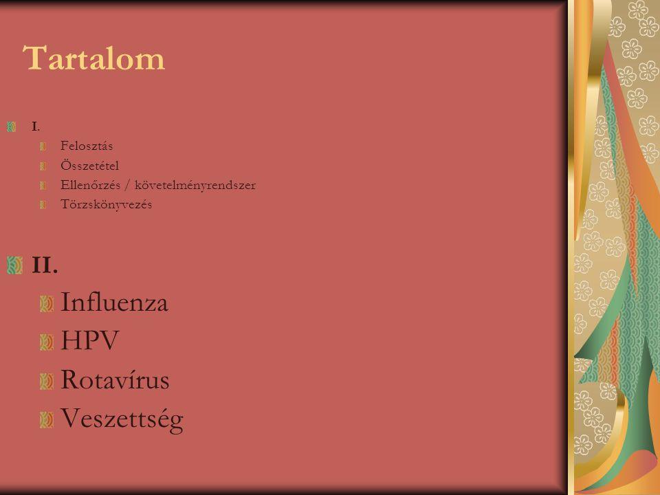 Tartalom I. Felosztás Összetétel Ellenőrzés / követelményrendszer Törzskönyvezés II. Influenza HPV Rotavírus Veszettség