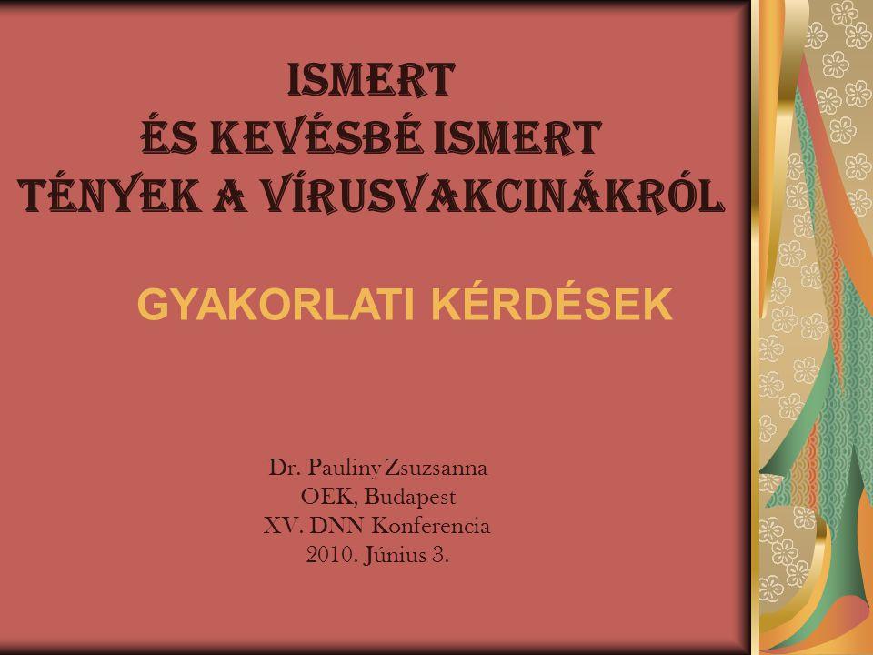 ISMERT ÉS KEVÉSBÉ ISMERT TÉNYEK A VÍRUSVAKCINÁKRÓL Dr. Pauliny Zsuzsanna OEK, Budapest XV. DNN Konferencia 2010. Június 3. GYAKORLATI KÉRDÉSEK