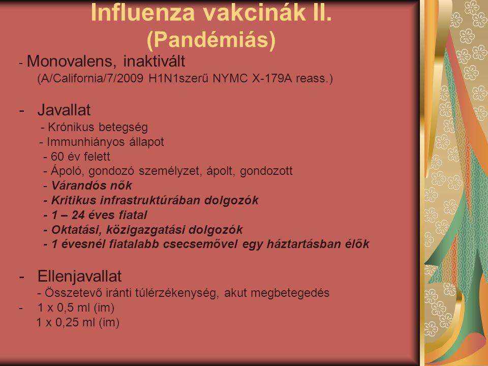 Influenza vakcinák II. (Pandémiás) - Monovalens, inaktivált (A/California/7/2009 H1N1szerű NYMC X-179A reass.) -Javallat - Krónikus betegség - Immunhi