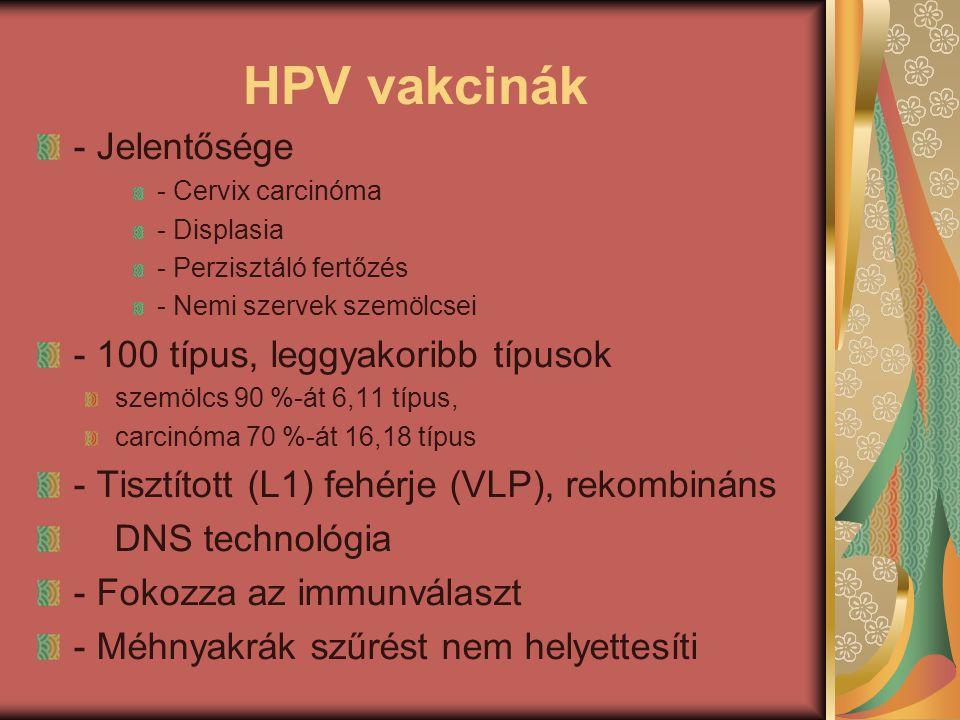 HPV vakcinák - Jelentősége - Cervix carcinóma - Displasia - Perzisztáló fertőzés - Nemi szervek szemölcsei - 100 típus, leggyakoribb típusok szemölcs