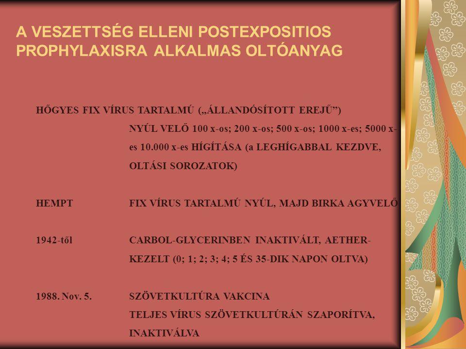 """A VESZETTSÉG ELLENI POSTEXPOSITIOS PROPHYLAXISRA ALKALMAS OLTÓANYAG HŐGYESFIX VÍRUS TARTALMÚ (""""ÁLLANDÓSÍTOTT EREJŰ"""") NYÚL VELŐ 100 x-os; 200 x-os; 500"""