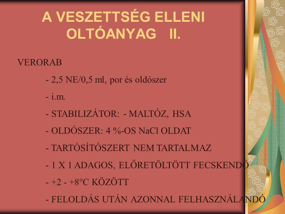 A VESZETTSÉG ELLENI OLTÓANYAG II. VERORAB - 2,5 NE/0,5 ml, por és oldószer - i.m. - STABILIZÁTOR: - MALTÓZ, HSA - OLDÓSZER: 4 %-OS NaCl OLDAT - TARTÓS