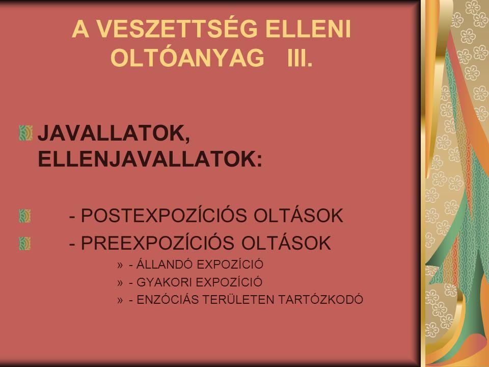 A VESZETTSÉG ELLENI OLTÓANYAG III. JAVALLATOK, ELLENJAVALLATOK: - POSTEXPOZÍCIÓS OLTÁSOK - PREEXPOZÍCIÓS OLTÁSOK »- ÁLLANDÓ EXPOZÍCIÓ »- GYAKORI EXPOZ