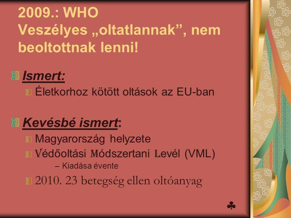 """2009.: WHO Veszélyes """"oltatlannak"""", nem beoltottnak lenni! Ismert: Életkorhoz kötött oltások az EU-ban Kevésbé ismert: Magyarország helyzete V édőoltá"""