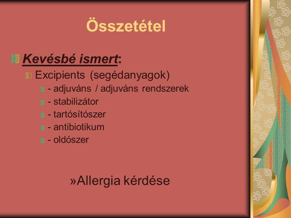 Összetétel Kevésbé ismert: Excipients (segédanyagok) - adjuváns / adjuváns rendszerek - stabilizátor - tartósítószer - antibiotikum - oldószer »Allerg