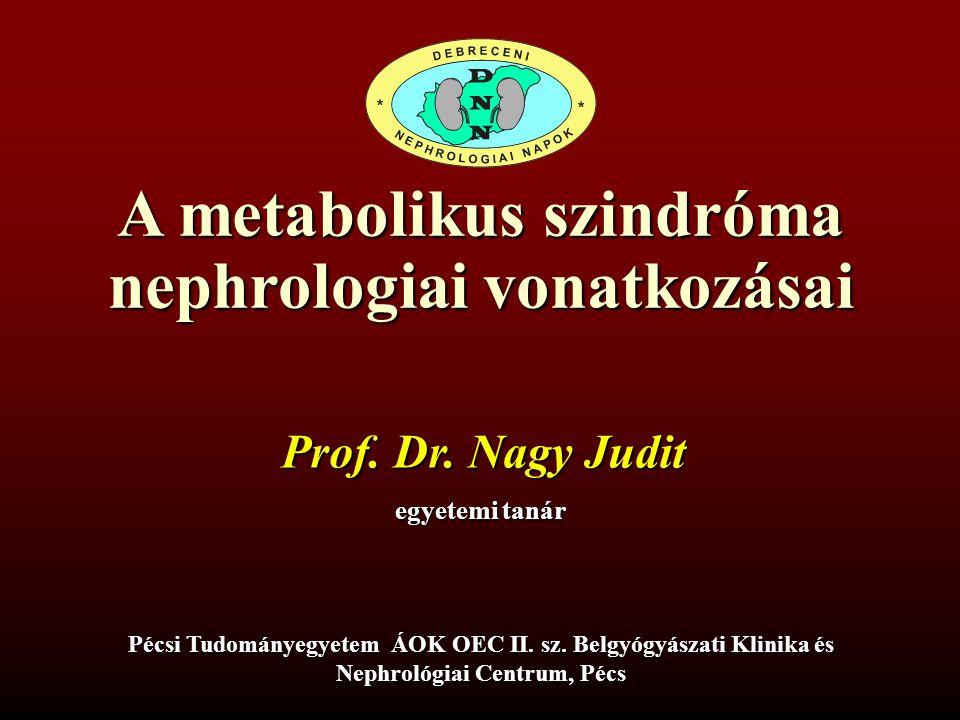 A metabolikus szindróma nephrologiai vonatkozásai egyetemi tanár Pécsi Tudományegyetem ÁOK OEC II. sz. Belgyógyászati Klinika és Nephrológiai Centrum,