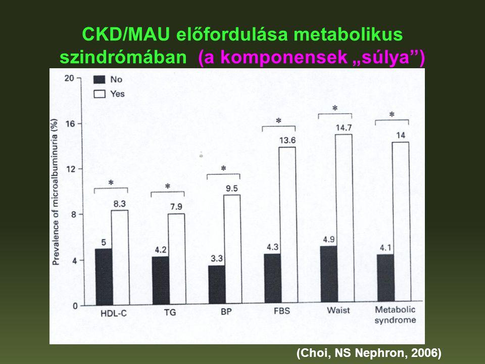"""CKD/MAU előfordulása metabolikus szindrómában (a komponensek """"súlya"""") (Choi, NS Nephron, 2006)"""
