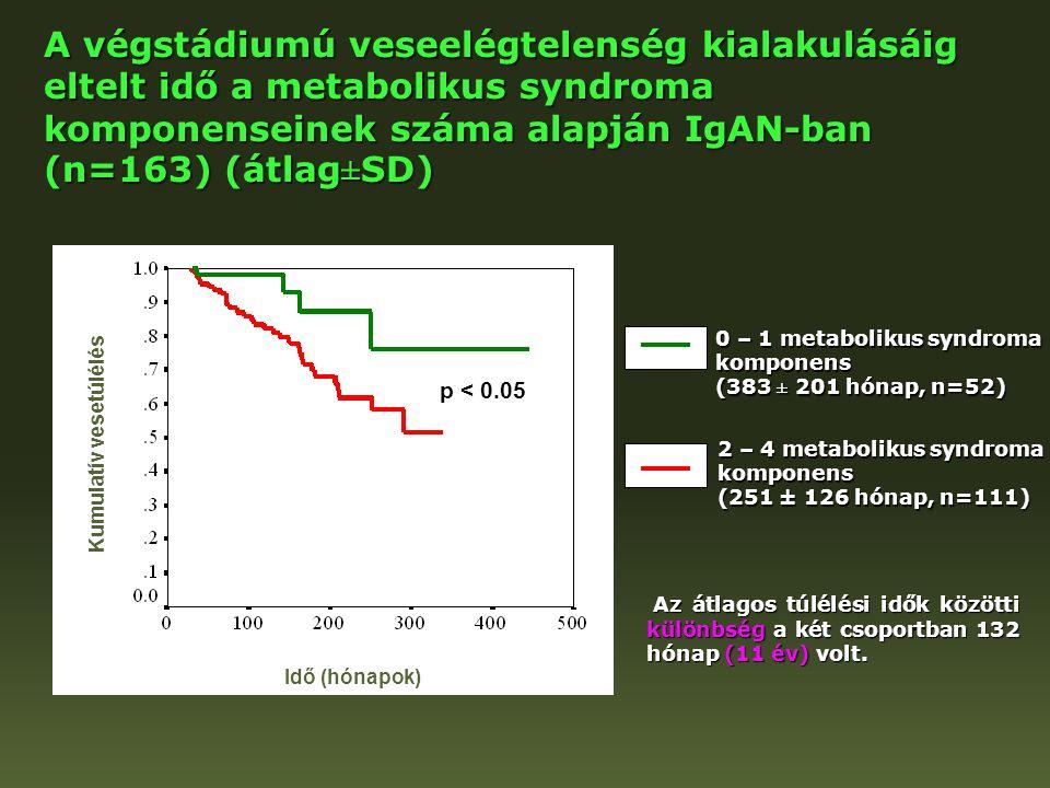 A végstádiumú veseelégtelenség kialakulásáig eltelt idő a metabolikus syndroma komponenseinek száma alapján IgAN-ban (n=163) (átlag±SD) 0 – 1 metaboli