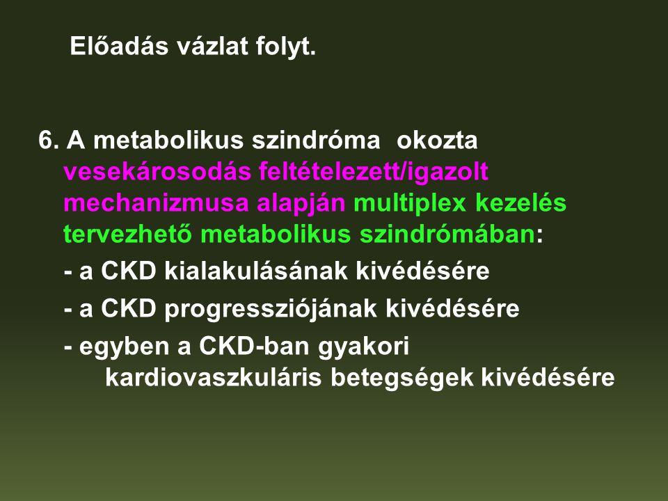 6. A metabolikus szindróma okozta vesekárosodás feltételezett/igazolt mechanizmusa alapján multiplex kezelés tervezhető metabolikus szindrómában: - a