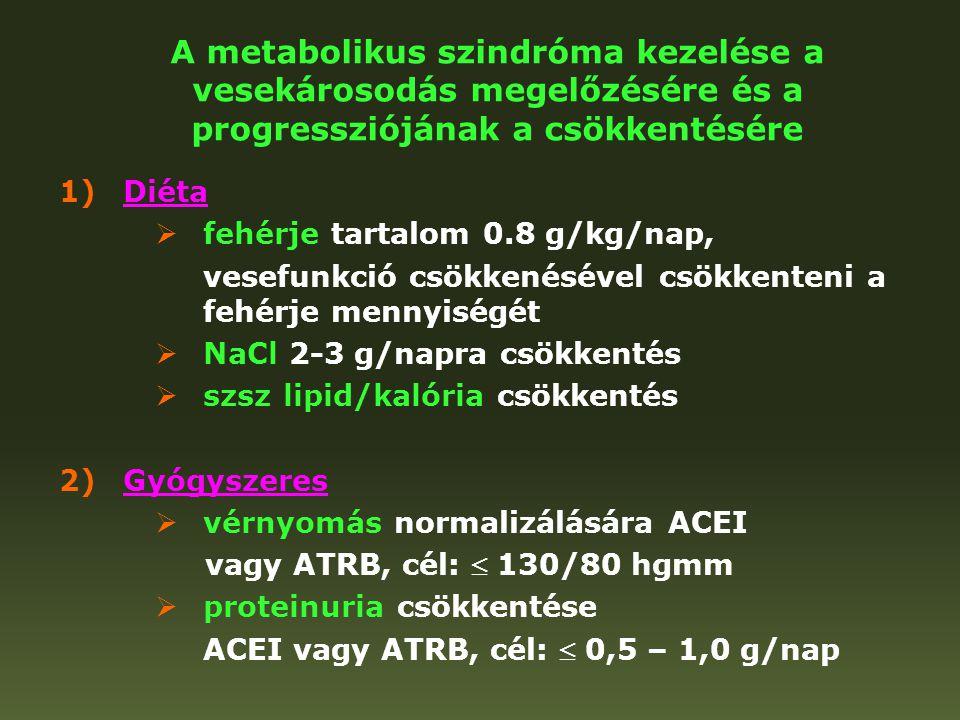 A metabolikus szindróma kezelése a vesekárosodás megelőzésére és a progressziójának a csökkentésére 1)Diéta  fehérje tartalom 0.8 g/kg/nap, vesefunkc
