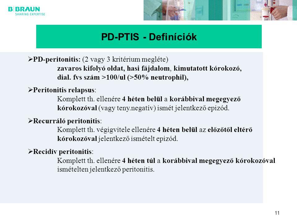 11 PD-PTIS - Definíciók  PD-peritonitis: (2 vagy 3 kritérium megléte) zavaros kifolyó oldat, hasi fájdalom, kimutatott kórokozó, dial. fvs szám >100/