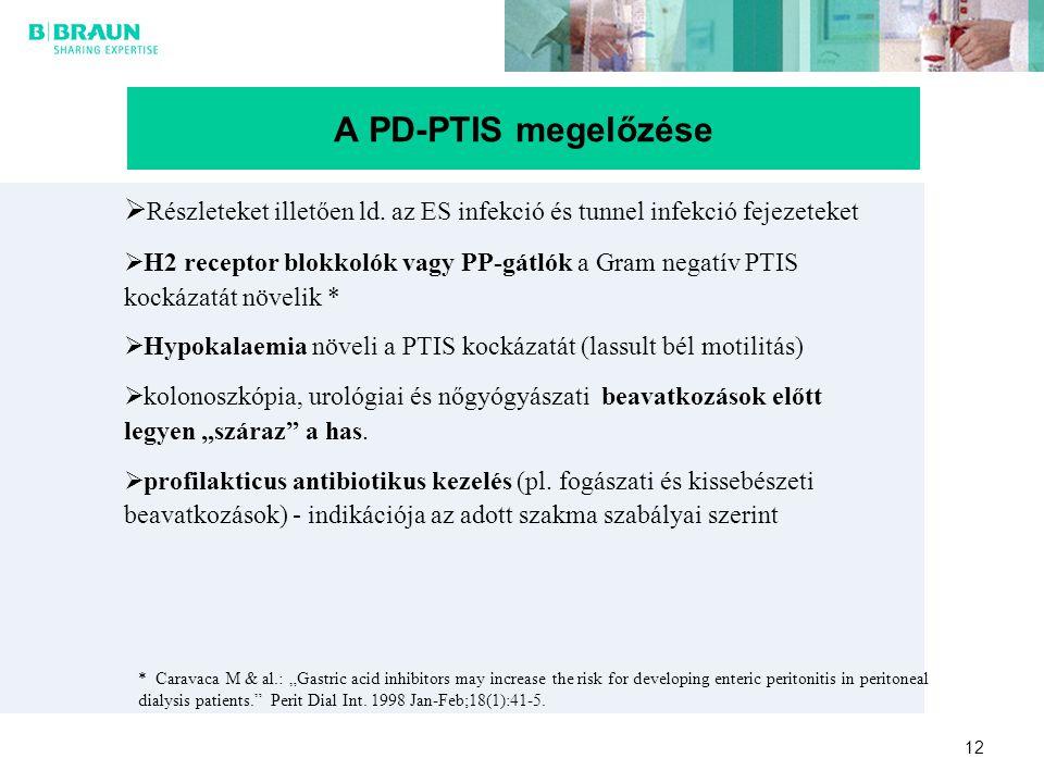 12 A PD-PTIS megelőzése  Részleteket illetően ld. az ES infekció és tunnel infekció fejezeteket  H2 receptor blokkolók vagy PP-gátlók a Gram negatív