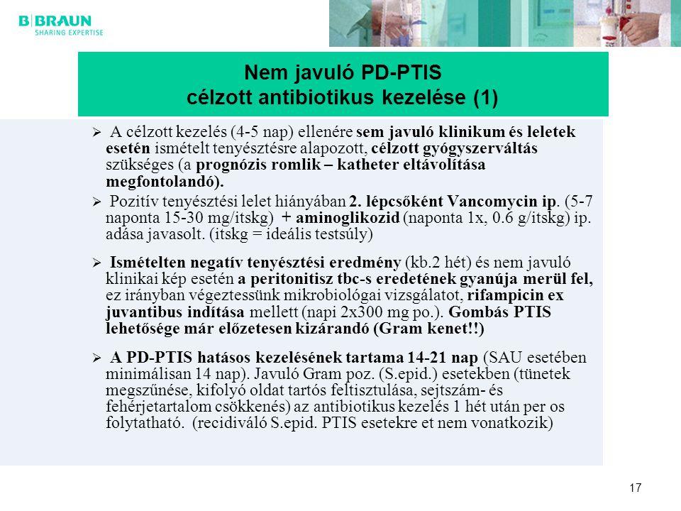 17  A célzott kezelés (4-5 nap) ellenére sem javuló klinikum és leletek esetén ismételt tenyésztésre alapozott, célzott gyógyszerváltás szükséges (a