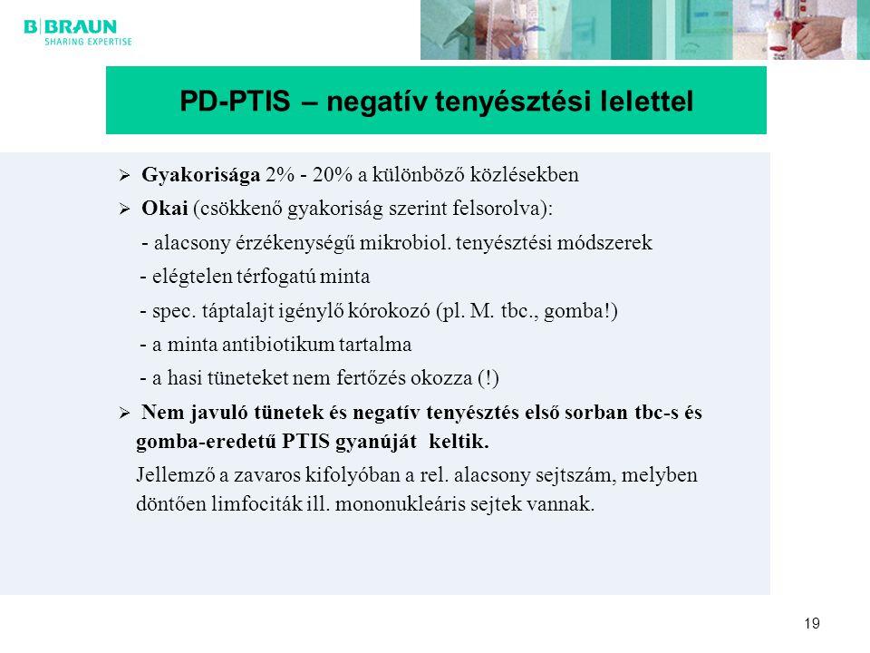 19  Gyakorisága 2% - 20% a különböző közlésekben  Okai (csökkenő gyakoriság szerint felsorolva): - alacsony érzékenységű mikrobiol. tenyésztési móds