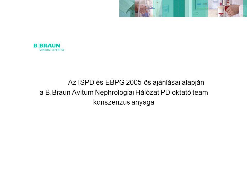 Az ISPD és EBPG 2005-ös ajánlásai alapján a B.Braun Avitum Nephrologiai Hálózat PD oktató team konszenzus anyaga