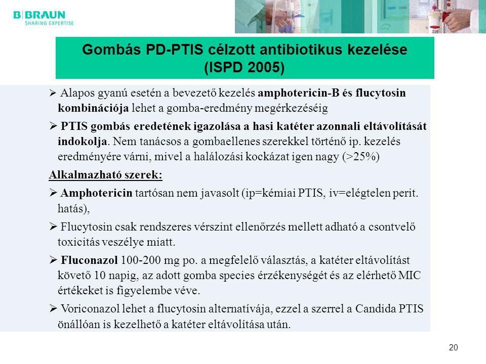 20 Gombás PD-PTIS célzott antibiotikus kezelése (ISPD 2005)  Alapos gyanú esetén a bevezető kezelés amphotericin-B és flucytosin kombinációja lehet a