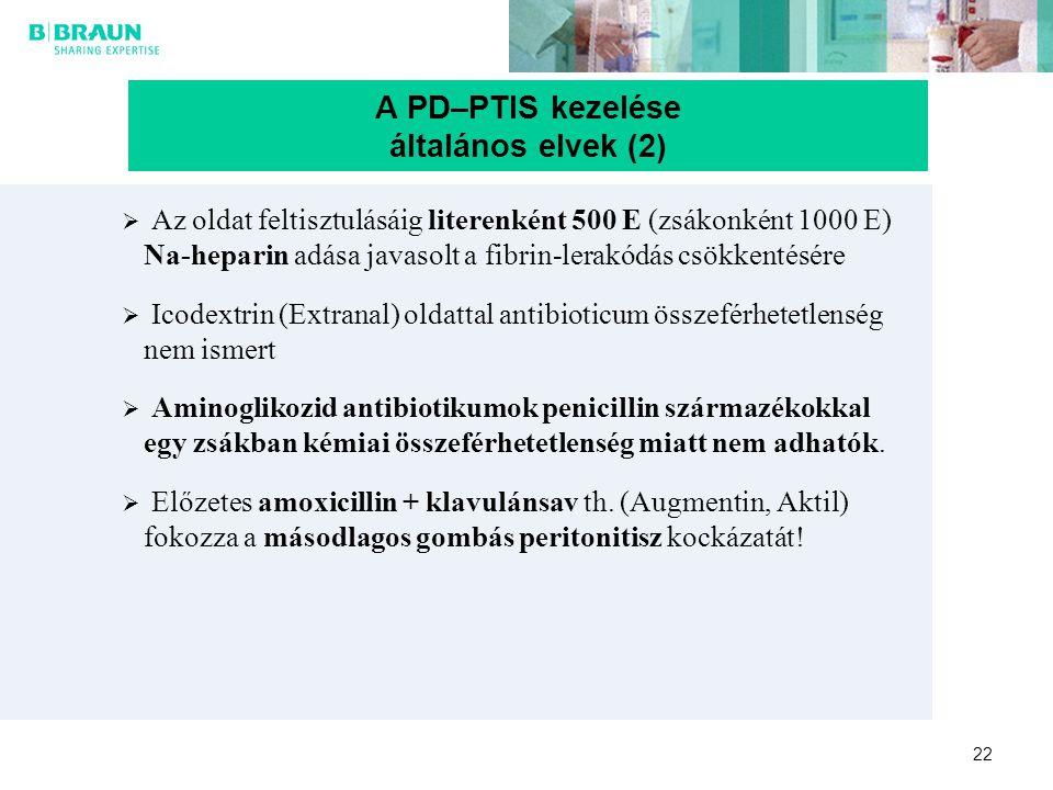 22  Az oldat feltisztulásáig literenként 500 E (zsákonként 1000 E) Na-heparin adása javasolt a fibrin-lerakódás csökkentésére  Icodextrin (Extranal)