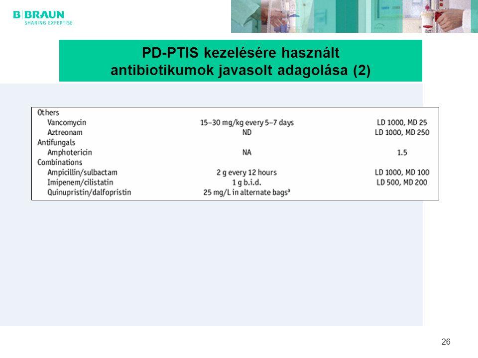 26 PD-PTIS kezelésére használt antibiotikumok javasolt adagolása (2)