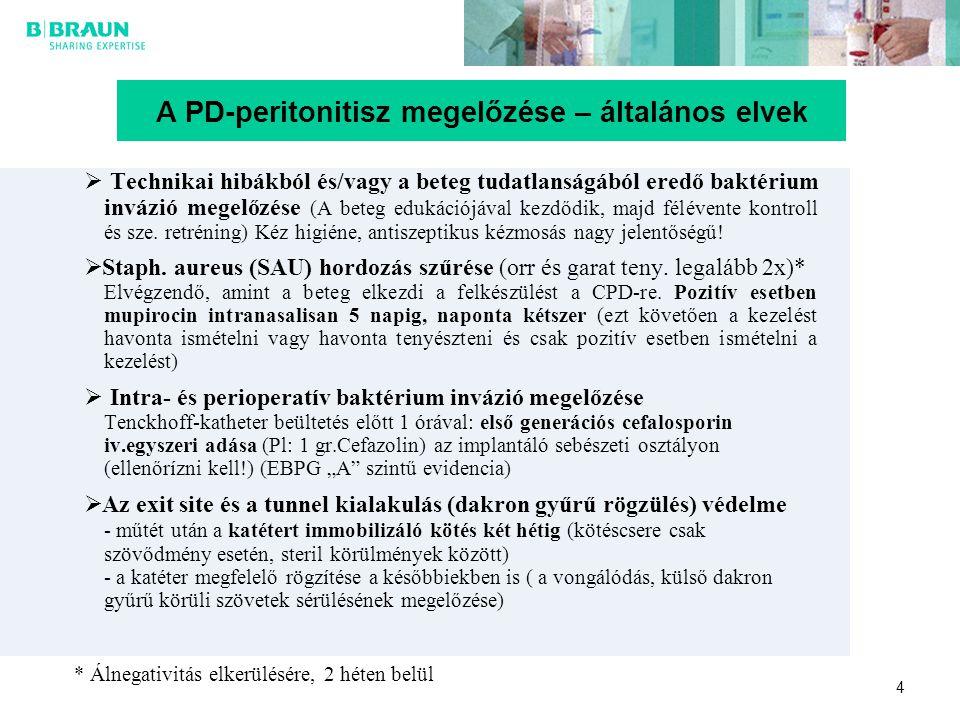 4 A PD-peritonitisz megelőzése – általános elvek  Technikai hibákból és/vagy a beteg tudatlanságából eredő baktérium invázió megelőzése (A beteg eduk
