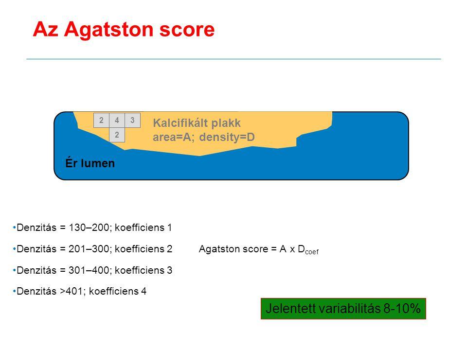 Denzitás = 130–200; koefficiens 1 Denzitás = 201–300; koefficiens 2 Agatston score = A x D coef Denzitás = 301–400; koefficiens 3 Denzitás >401; koeff