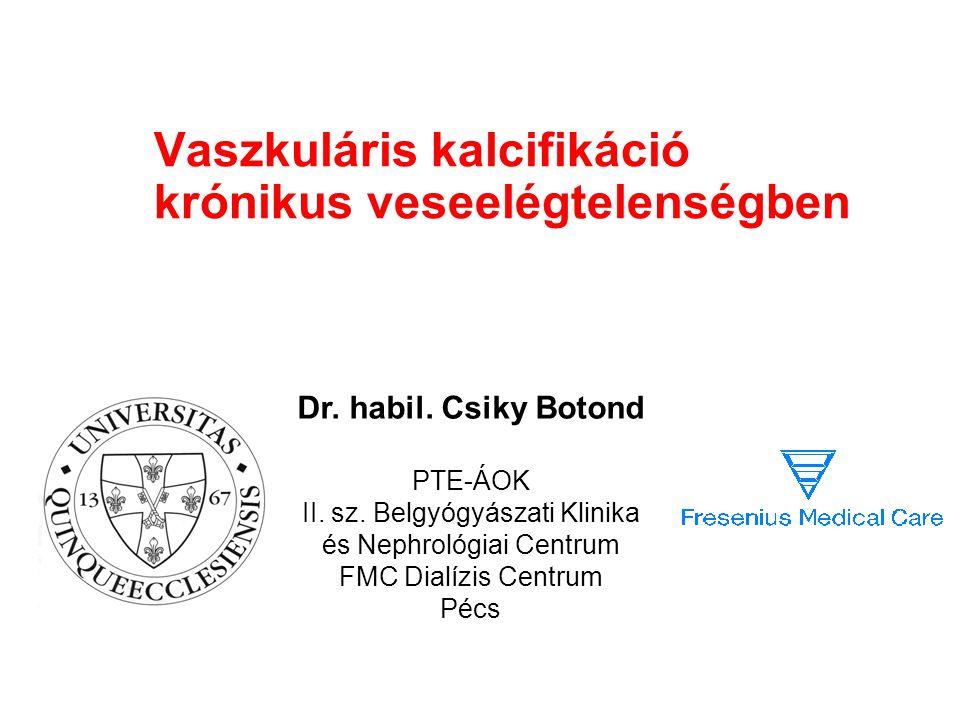 Vaszkuláris kalcifikáció krónikus veseelégtelenségben Dr. habil. Csiky Botond PTE-ÁOK II. sz. Belgyógyászati Klinika és Nephrológiai Centrum FMC Dialí