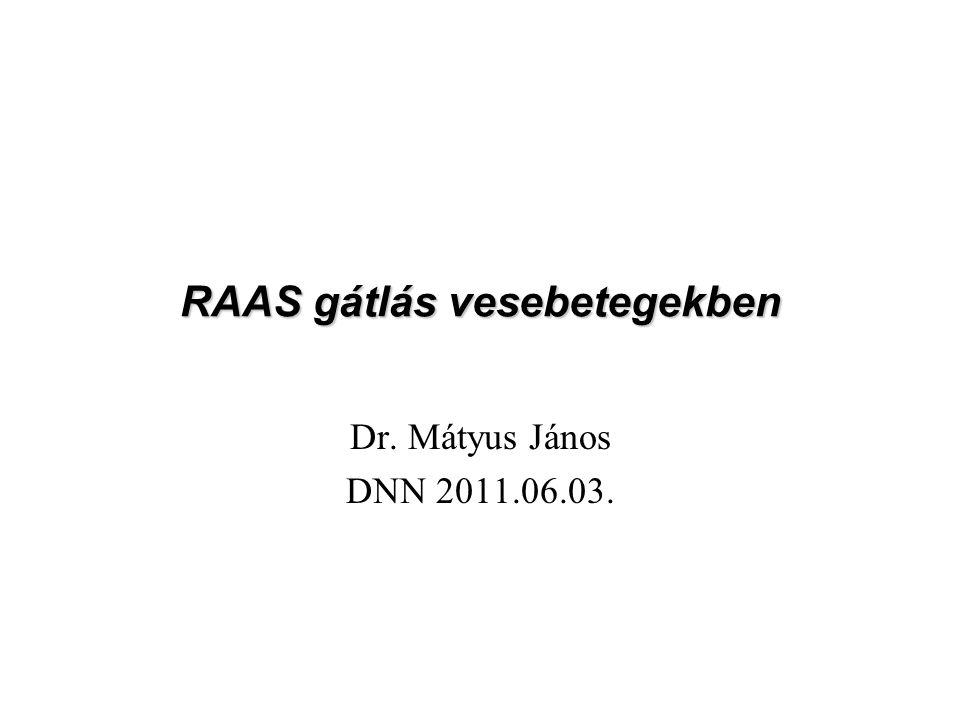 RAAS gátlás vesebetegekben Dr. Mátyus János DNN 2011.06.03.