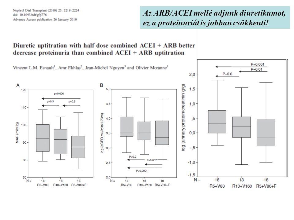 Az ARB/ACEI mellé adjunk diuretikumot, ez a proteinuriát is jobban csökkenti!