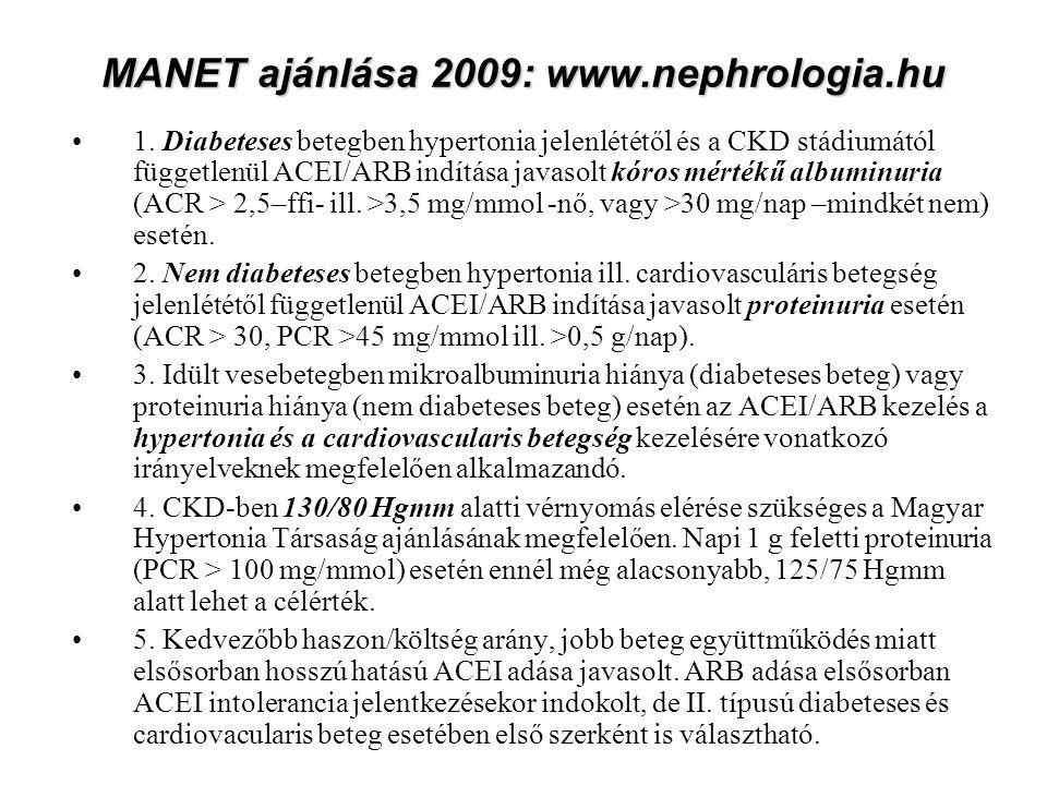 MANET ajánlása 2009: www.nephrologia.hu 1.