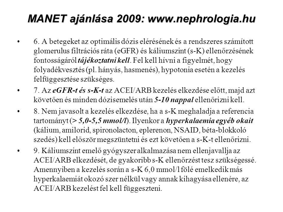 MANET ajánlása 2009: www.nephrologia.hu 6.