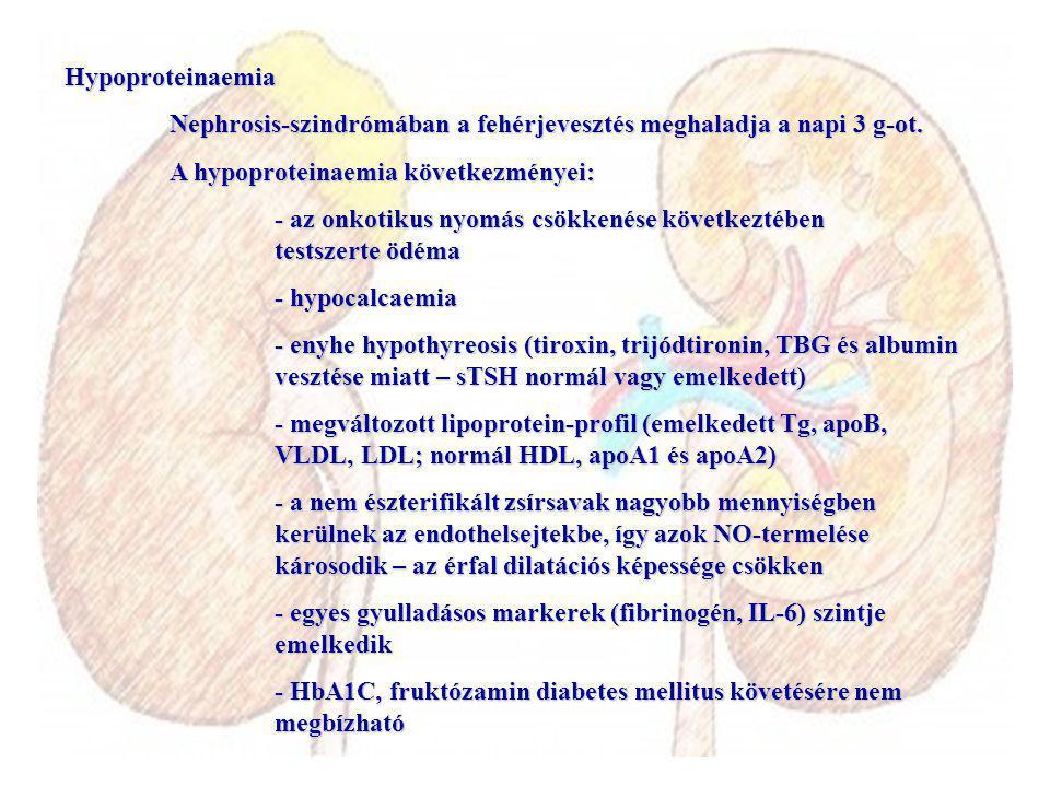 Hypoproteinaemia Nephrosis-szindrómában a fehérjevesztés meghaladja a napi 3 g-ot. A hypoproteinaemia következményei: - az onkotikus nyomás csökkenése