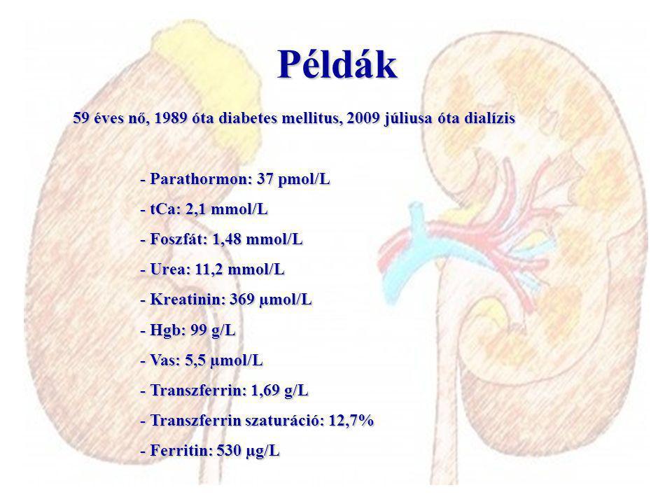 59 éves nő, 1989 óta diabetes mellitus, 2009 júliusa óta dialízis - Parathormon: 37 pmol/L - tCa: 2,1 mmol/L - Foszfát: 1,48 mmol/L - Urea: 11,2 mmol/L - Kreatinin: 369 µmol/L - Hgb: 99 g/L - Vas: 5,5 µmol/L - Transzferrin: 1,69 g/L - Transzferrin szaturáció: 12,7% - Ferritin: 530 µg/L Példák