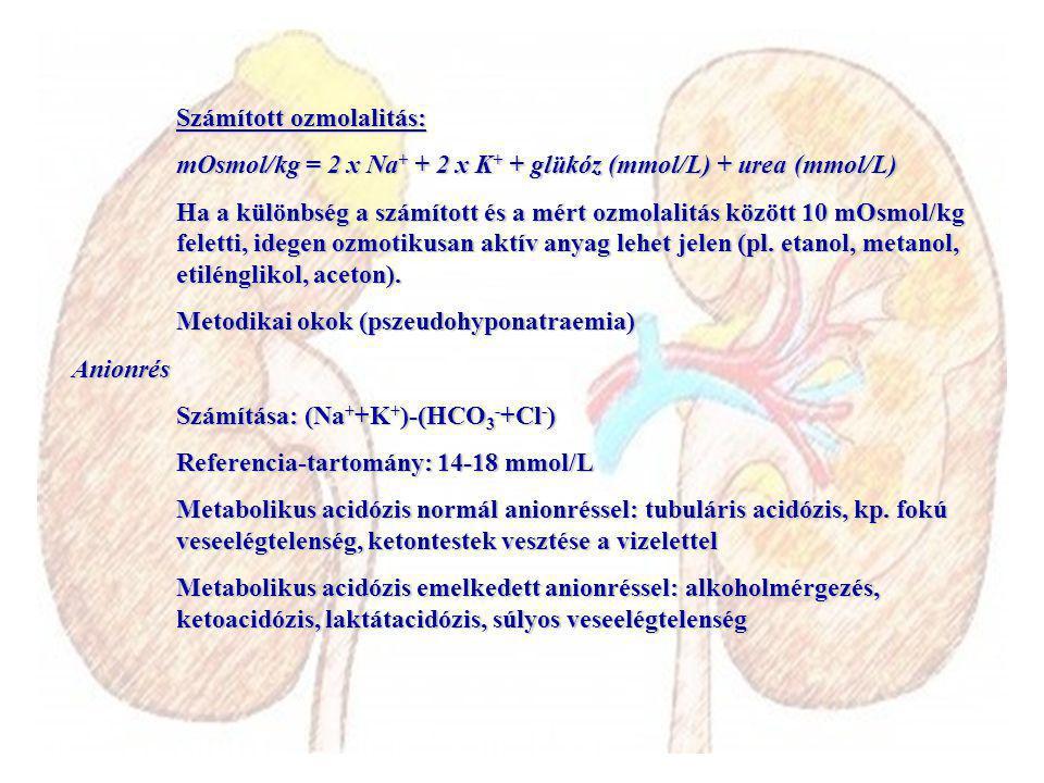 Számított ozmolalitás: mOsmol/kg = 2 x Na + + 2 x K + + glükóz (mmol/L) + urea (mmol/L) Ha a különbség a számított és a mért ozmolalitás között 10 mOsmol/kg feletti, idegen ozmotikusan aktív anyag lehet jelen (pl.