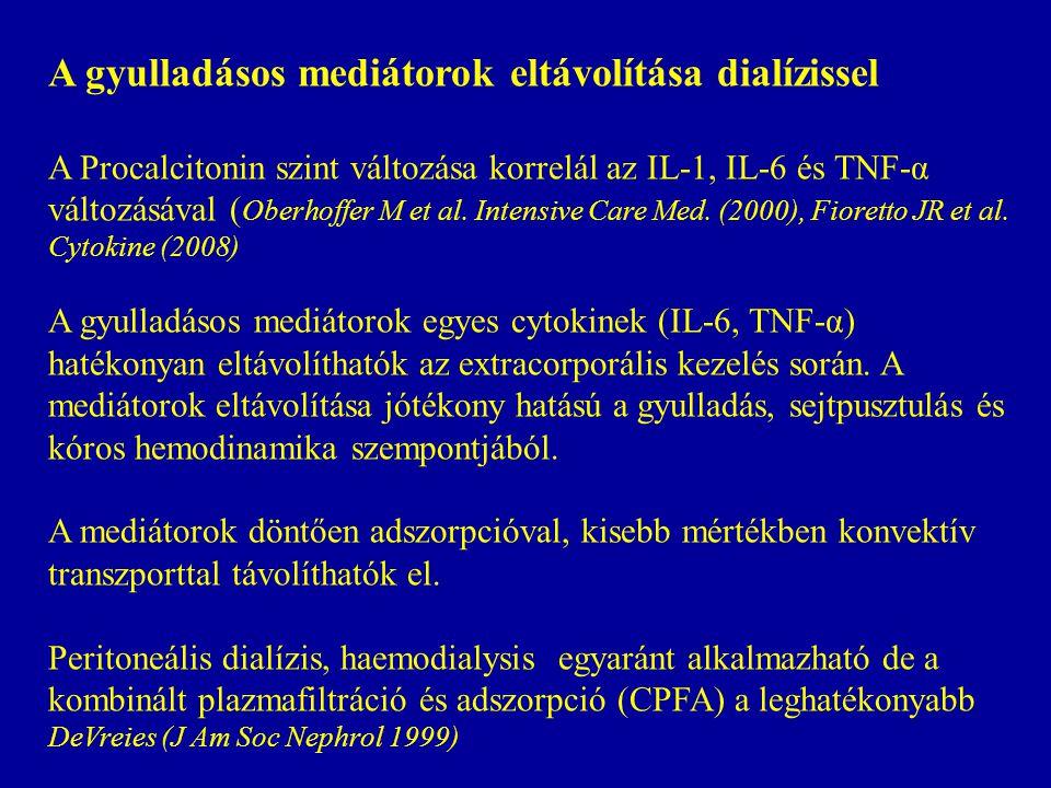 A gyulladásos mediátorok eltávolítása dialízissel A Procalcitonin szint változása korrelál az IL-1, IL-6 és TNF-α változásával ( Oberhoffer M et al.