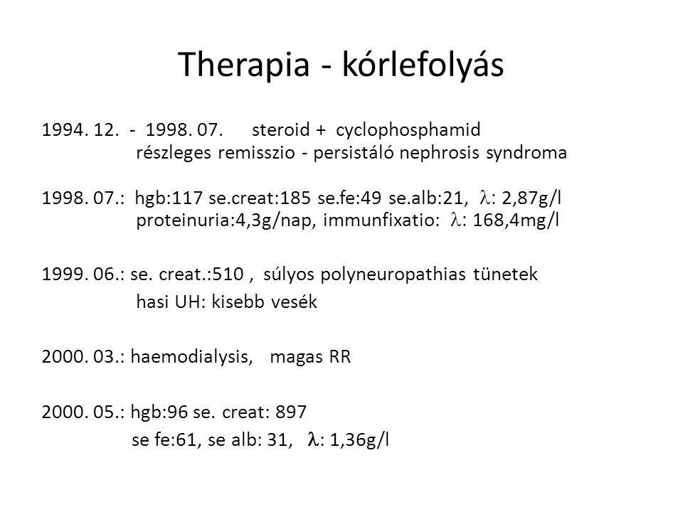 Therapia - kórlefolyás 1994. 12. - 1998. 07. steroid + cyclophosphamid részleges remisszio - persistáló nephrosis syndroma 1998. 07.: hgb:117 se.creat