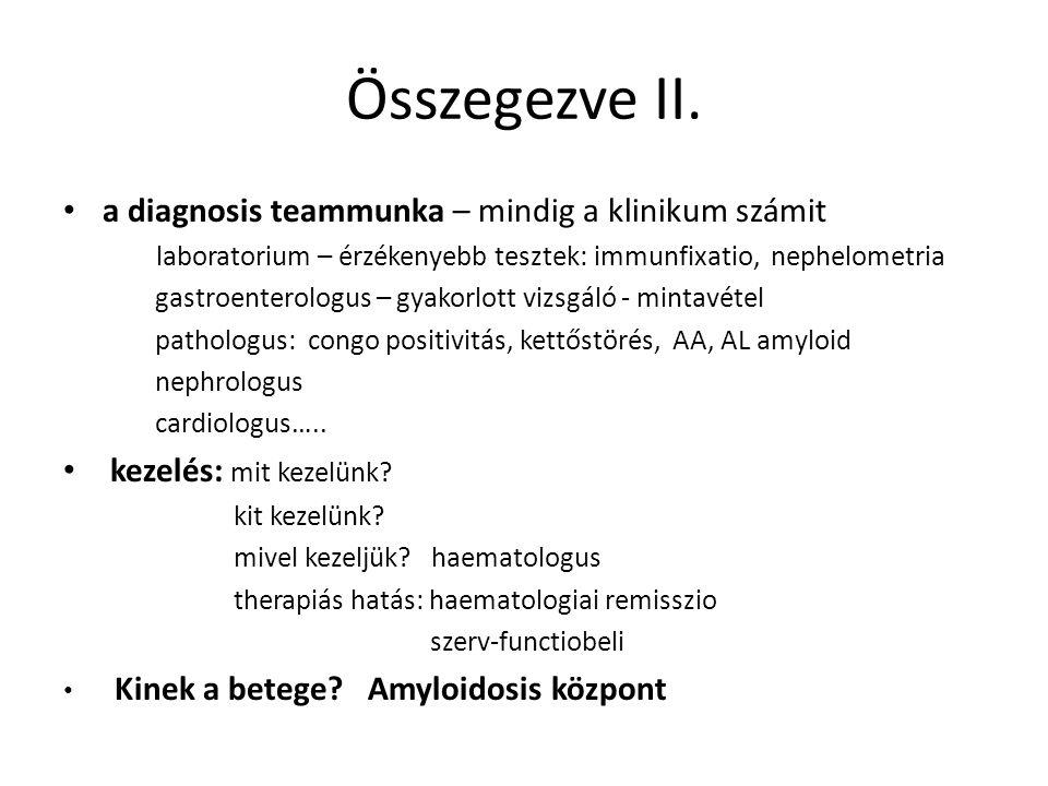 Összegezve II. a diagnosis teammunka – mindig a klinikum számit laboratorium – érzékenyebb tesztek: immunfixatio, nephelometria gastroenterologus – gy