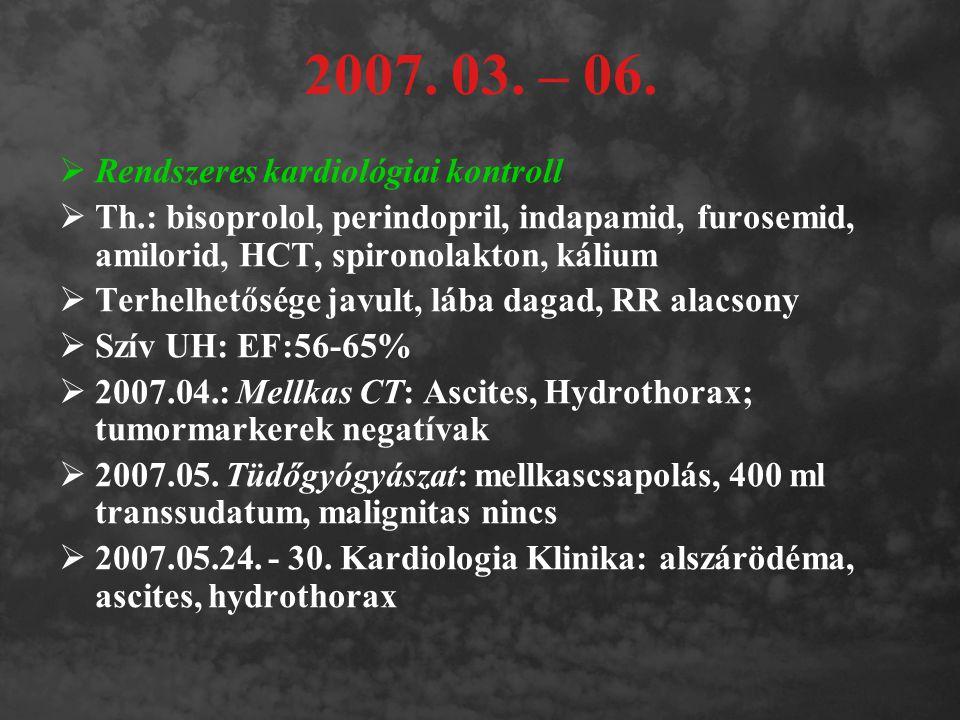 2007. 03. – 06.  Rendszeres kardiológiai kontroll  Th.: bisoprolol, perindopril, indapamid, furosemid, amilorid, HCT, spironolakton, kálium  Terhel