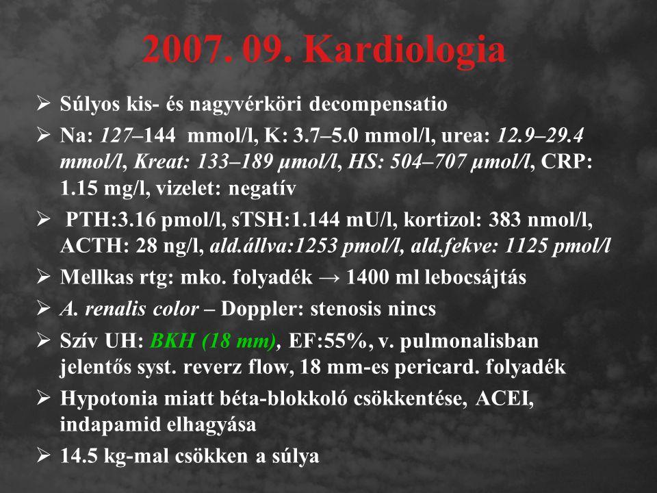 2007. 09. Kardiologia  Súlyos kis- és nagyvérköri decompensatio  Na: 127–144 mmol/l, K: 3.7–5.0 mmol/l, urea: 12.9–29.4 mmol/l, Kreat: 133–189 μmol/