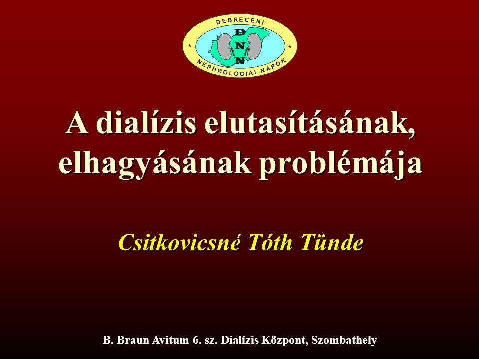 A dialízis elutasításának, elhagyásának problémája Csitkovicsné Tóth Tünde B. Braun Avitum 6. sz. Dialízis Központ, Szombathely