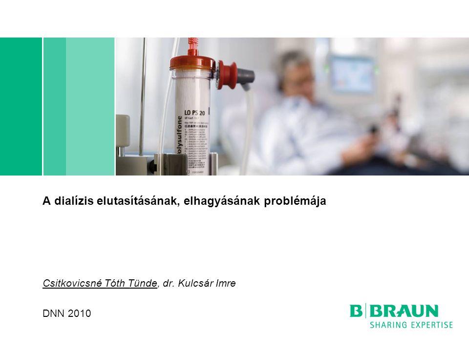A dialízis elutasításának, elhagyásának problémája Csitkovicsné Tóth Tünde, dr. Kulcsár Imre DNN 2010