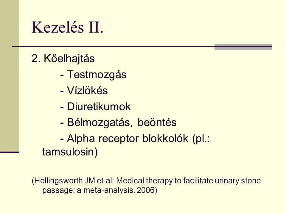Kezelés II. 2. Kőelhajtás - Testmozgás - Vízlökés - Diuretikumok - Bélmozgatás, beöntés - Alpha receptor blokkolók (pl.: tamsulosin) (Hollingsworth JM