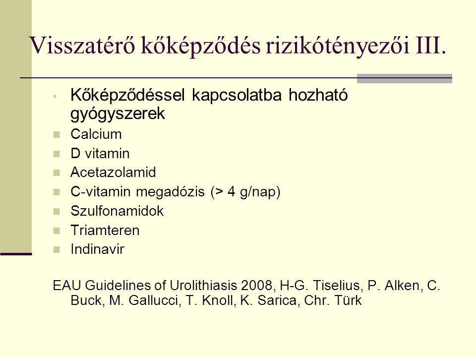 Visszatérő kőképződés rizikótényezői III. Kőképződéssel kapcsolatba hozható gyógyszerek Calcium D vitamin Acetazolamid C-vitamin megadózis (> 4 g/nap)