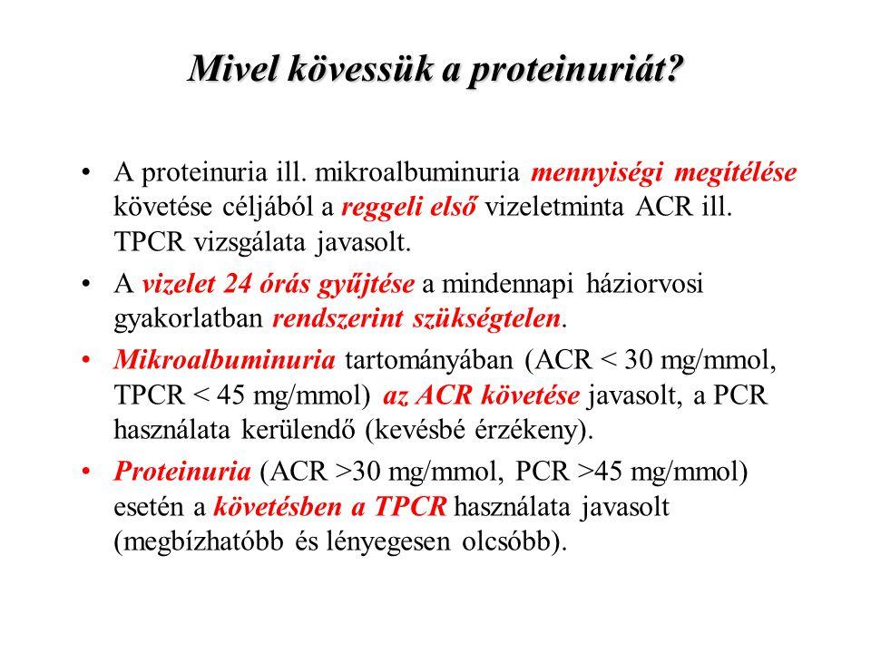 Mivel kövessük a proteinuriát? A proteinuria ill. mikroalbuminuria mennyiségi megítélése követése céljából a reggeli első vizeletminta ACR ill. TPCR v