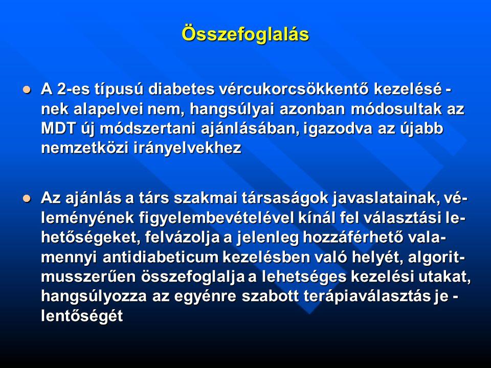 Összefoglalás A 2-es típusú diabetes vércukorcsökkentő kezelésé - nek alapelvei nem, hangsúlyai azonban módosultak az MDT új módszertani ajánlásában, igazodva az újabb nemzetközi irányelvekhez A 2-es típusú diabetes vércukorcsökkentő kezelésé - nek alapelvei nem, hangsúlyai azonban módosultak az MDT új módszertani ajánlásában, igazodva az újabb nemzetközi irányelvekhez Az ajánlás a társ szakmai társaságok javaslatainak, vé- leményének figyelembevételével kínál fel választási le- hetőségeket, felvázolja a jelenleg hozzáférhető vala- mennyi antidiabeticum kezelésben való helyét, algorit- musszerűen összefoglalja a lehetséges kezelési utakat, hangsúlyozza az egyénre szabott terápiaválasztás je - lentőségét Az ajánlás a társ szakmai társaságok javaslatainak, vé- leményének figyelembevételével kínál fel választási le- hetőségeket, felvázolja a jelenleg hozzáférhető vala- mennyi antidiabeticum kezelésben való helyét, algorit- musszerűen összefoglalja a lehetséges kezelési utakat, hangsúlyozza az egyénre szabott terápiaválasztás je - lentőségét