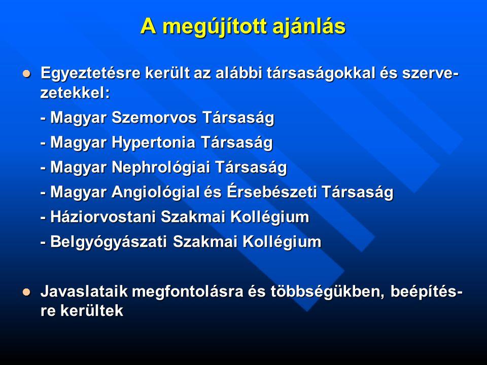 K l i n i k a i é s z l e l é s K l i n i k a i é s z l e l é s HbA 1c  9,0%  9,0%  9,0% és szimp- tómás hyperglykaemia tómás hyperglykaemia Életmódkezelés + Életmódkezelés + Metformin Metformin+ bármely más csoportú szer más csoportú szer vagy vagy + Inzulin + Inzulin Inzulin Inzulin vagy vagy Inzulin + Metformin Inzulin + Metformin + bármely más csoportú antidiabeticum (kettős kombináció, dózistitrálással) vagy + bázis hatású inzulin (NPH vagy analóg bázisinzulin) és + a kezelés intenzifikálása a kezelési cél teljesüléséig A Kanadai Diabetes Társaság algoritmusa a 2DM vércukorcsökkentő kezelésére 2008.