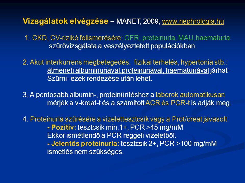 Vizsgálatok elvégzése – MANET, 2009; www.nephrologia.huwww.nephrologia.hu 1. CKD, CV-rizikó felismerésére: GFR, proteinuria, MAU,haematuria szűrővizsg