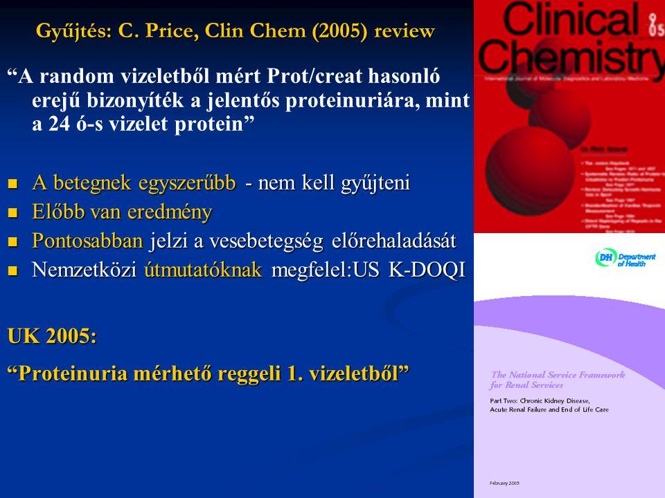 24 órás vTP és reggeli vTP/krea korrelációja Ruggenenti (1998):~uaz 177 nem DM-s vesebeteg Ginsberg (NEJM 1983) ajánlotta: 24 órás vizeletgyűjtés helyett reggeli vizelet PCR 24 órás vizeletgyűjtés helyett reggeli vizelet PCR