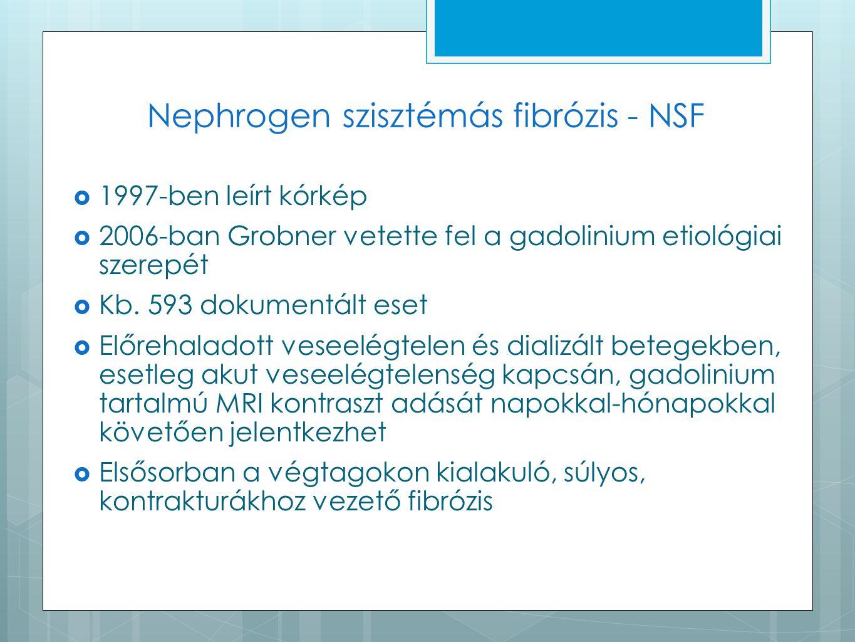 Nephrogen szisztémás fibrózis - NSF  1997-ben leírt kórkép  2006-ban Grobner vetette fel a gadolinium etiológiai szerepét  Kb. 593 dokumentált eset
